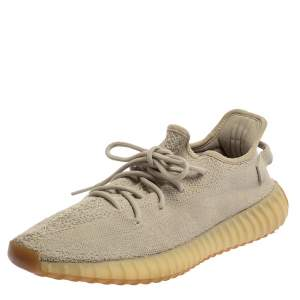 Yeezy x Adidas Beige Cotton Knit Boost 350 V2 Sesame Sneakers Size 44