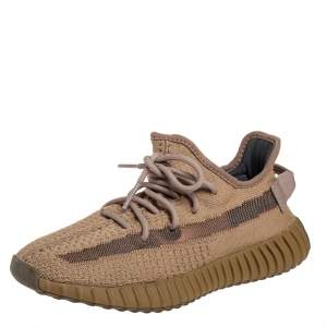 Yeezy x adidas Brown Knit Fabric Boost 350 V2 Earth Sneakers Size 38