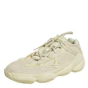 حذاء رياضي ييزي وأديداس منخفض من أعلى 500 ديزرت رات سويدي وشبك أصفر مقاس 46 2/3