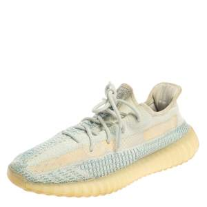 Yeezy x Adidas Blue/White Knit Fabric Boost 350 V2 Cloud White Sneakers Size 44