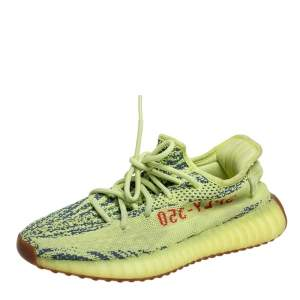 Yeezy x adidas Green/Blue Knit Fabric Boost 350 V2 Zebra Low Top Sneakers Size 40