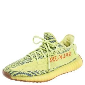 Yeezy x adidas Green/Blue Knit Fabric Boost 350 V2 Zebra Sneakers Size 41 1/3