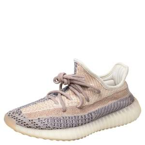 Yeezy x adidas Multicolor Knit Fabric Boost 350 V2  Ash Pearl Sneakers Size 39 1/3