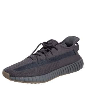 Yeezy x Adidas Dark Grey Cotton Knit Boost 350 V2 Cinder Sneakers Size 46