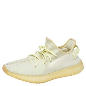 """Yeezy Boost 350 V2 """"Butter"""" Green Knit Fabric Lace Up Sneaker Size 44"""