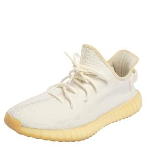 Yeezy x Adidas Boost 350 V2 Cream/Triple White Knit Fabric Lace Up Sneaker Size 44.5