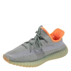 Yeezy x Adidas Grey/Green Knit Fabric Boost 350 V2 Desert Sage Sneakers Size 39 1/3