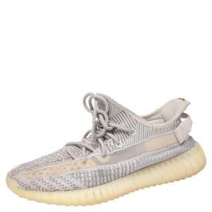 حذاء رياضي ييزي x أديداس بوست 350 V2 ستاتيك قماش تريكو أبيض/رصاصي غير عاكس مقاس 44