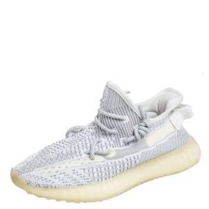 حذاء رياضي ييزي x أديداس بوست 350 V2 ستاتيك قماش تريكو أبيض / رمادي غير عاكس مقاس 40 2/3