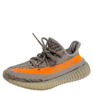 Yeezy x adidas Grey/Orange Knit Fabric Boost 350 V2 Beluga Sneakers Size 37