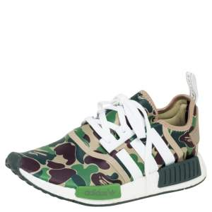 Adidas NMD R1 Bape Olive Camo Nylon Low Top Sneakers Size 42.5