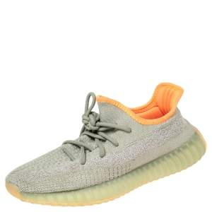 Yeezy x Adidas Green/Grey Knit Fabric Boost 350 V2 Desert Sage Sneakers Size 40 2/3