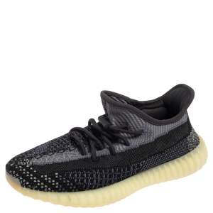 Yeezy x adidas Black/Grey Knit Fabric Boost 350 V2 Carbon Sneakers Size 41 1/3