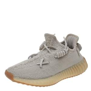 Yeezy x adidas Grey Knit Fabric Sesame Boost 350 V2 Low Top Sneakers Size 36