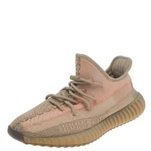 حذاء رياضي ييزي x أديداس بوست 350 V2 ساند  قماش تريكو بني بعنق منخفض رصاصي داكن مقاس 43 1/3