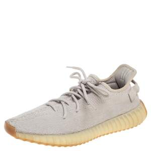 Yeezy x Adidas Grey Knit Fabric Boost 350 V2 Sesame Sneakers Size 44