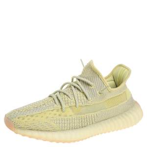 Yeezy x Adidas Yellow/Grey Knit Fabric Boost 350 V2 Antlia Non-Reflective Sneakers Size 44
