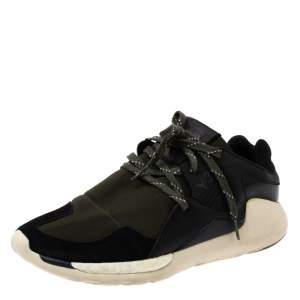 Yohji Yamamoto Black/Green Neoprene and Suede Y-3 QR Run Sneakers Size 40.5