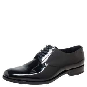 Saint Laurent Black Patent Leather Montaigne Lace Up Derby Size 43.5