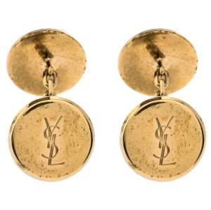 Yves Saint Laurent Gold Tone Round Logo Cufflinks