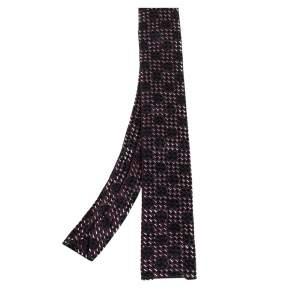 ربطة عنق إيف سان لوران سكيني حرير طرف مربع جاكار أسود