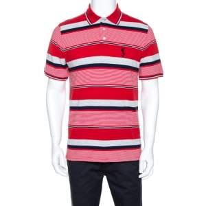Yves Saint Laurent Red Striped Pique Cotton Polo T-Shirt M