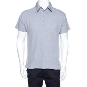 Yves Saint Laurent Grey Cotton Pique Polo T Shirt L