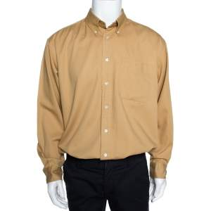 Yves Saint Laurent Mustard Yellow Cotton Twill Long Sleeve Shirt XL