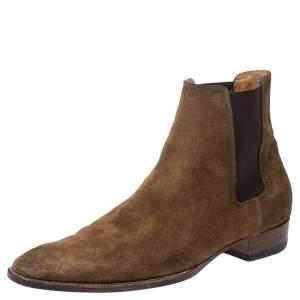 Saint Laurent Paris Brown Suede Chelsea Ankle Boots Size 45