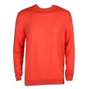 Z Zegna Blood Orange Wool Long Sleeve Sweater XL