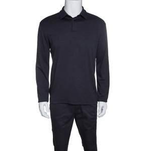 Z Zegna Dark Grey Techmerino Wool and Silk Jersey Long Sleeve Polo T-Shirt L