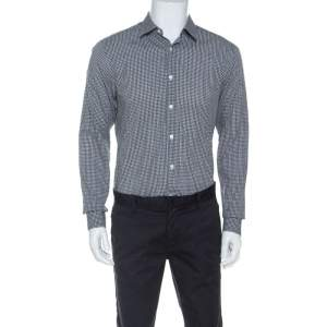 Z Zegna Monochrome Cotton Patterned Jacquard Slim Fit Shirt M