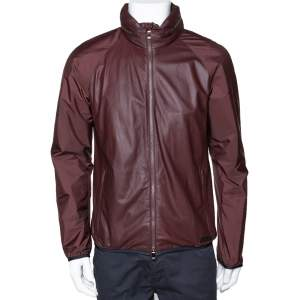 Z Zegna Maroon Leather Hood Detail Zip Front Jacket M