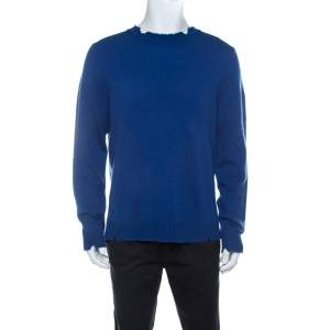 Zadig and Voltaire Blue Wool Worn Effect Kennedy Grunge Sweater XL