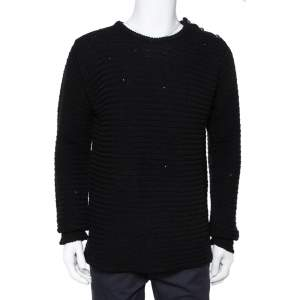 Zadig & Voltaire Black Distressed Knit Merino Wool Jeremy Raye Sweater L