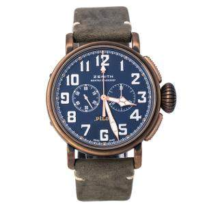 Zenith Blue Bronze Pilot Type 20 Flying Instruments 29.2430.4069 Men's Wristwatch 45 mm