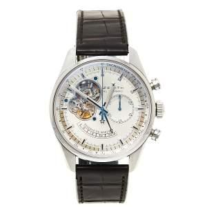 Zenith Silver Stainless Steel Crocodile Leather El Primero Chronomaster 03.2080.4021/01.C494 Men's Wristwatch 42 mm