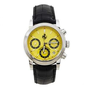 Girard Perregaux Yellow Stainless Steel Leather Ferrari Ref.8020 Chronograph Men's Wristwatch 38 mm