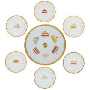 Bvlgari Porcelain & 22k Gold Dessert Plate Set