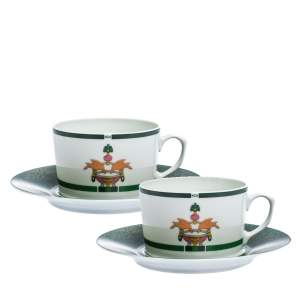 Cartier Green La Maison Venitienne Breakfast Cup with Saucer Set For Two