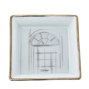 Cartier Porcelain Platinum Finish Mini Trinket Tray