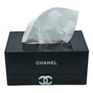 Chanel Black Tissue Box & Organizer Drawer