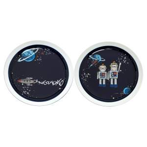 Dolce & Gabbana Midnight Blue/White Ceramic Space Cartoon Dishes Plate