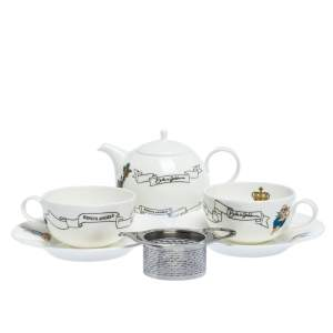 Dolce & Gabbana White Fashion Devotion Ceramic 5-Piece Tea Cup Set