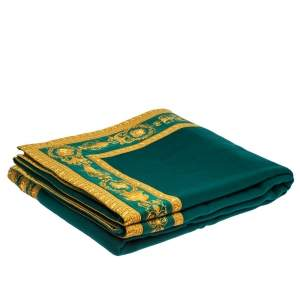 Gianni Versace Green & Yellow Medusa Pattern Wool Blanket