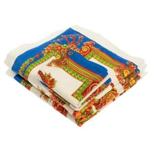 Gianni Versace Vintage Blue & Cream Baroque Print Placemat & Napkin Set