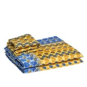 Gianni Versace Vintage Blue Sea Life Print Placemat & Napkin Set