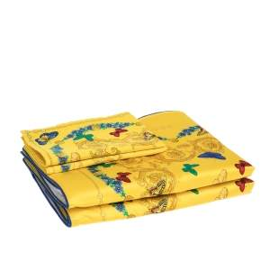 Gianni Versace Vintage Yellow Butterfly Print Placemat & Napkin Set