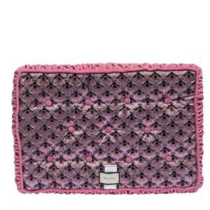 Gucci Pink Bee Pattern Jacquard Velvet Cushion