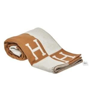 Hermès Ecru & Camel Merino Cashmere Avalon Throw Blanket